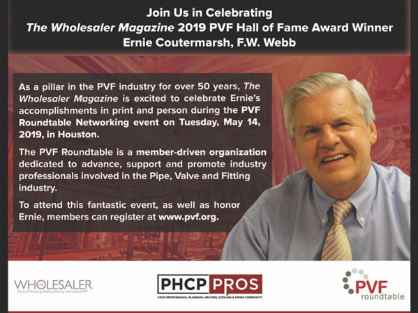 Ernie Coutermarsh, The Wholesaler Magazine 2019 PVF Hall of Fame Award Winner, to be Honored at PVF Roundtable Networking Event 3