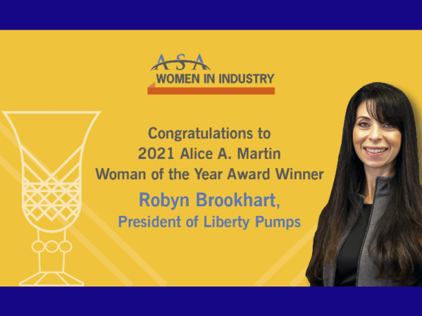 Robyn Brookhart of Liberty Pumps Receives 2021 ASA Women in Industry Alice A. Martin Woman of the Year Award  2
