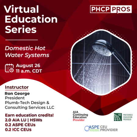 Registration Open for Virtual PHCPPros CEU Course on Domestic Hot Water Systems