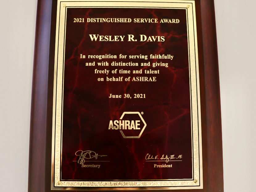 ACCA Director of Technical Services Receives ASHRAE Distinguished Service Award