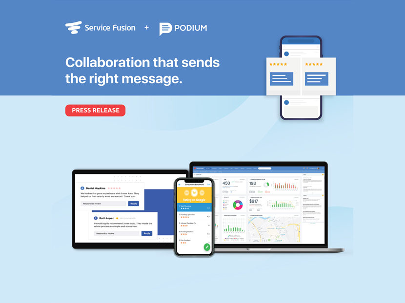 Service Fusion Partners with Podium to Help Contractors Better Manage Their Online Reputations