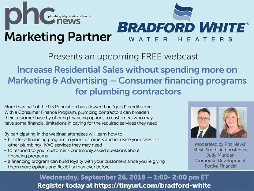 Bradford White, PHC News to Hold Free Webinar on Consumer Finance
