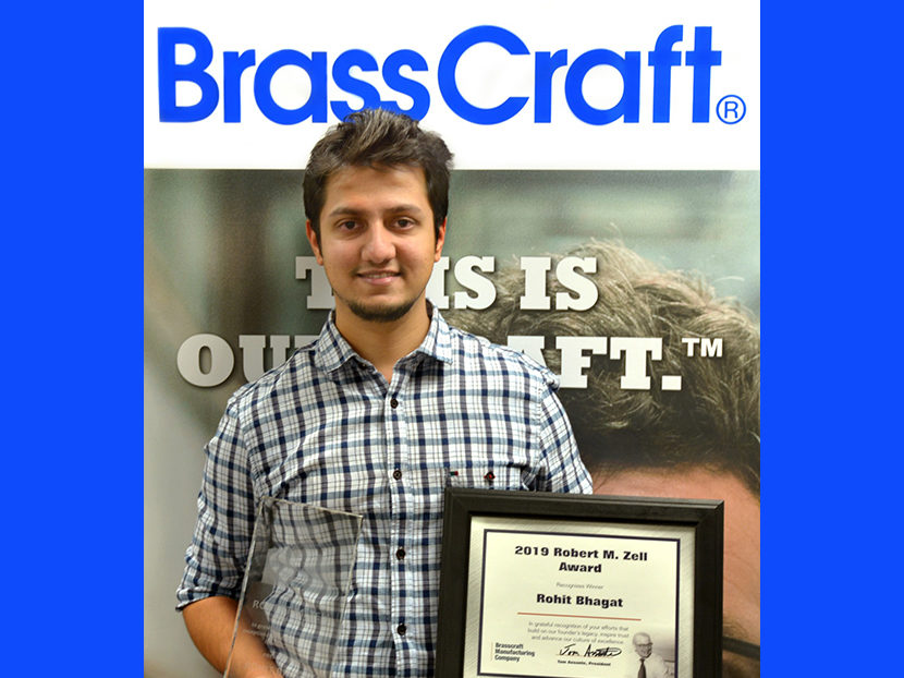Brasscraft Manufacturing Co. Awards 2019 Robert M. Zell Award to Rohit Bhagat