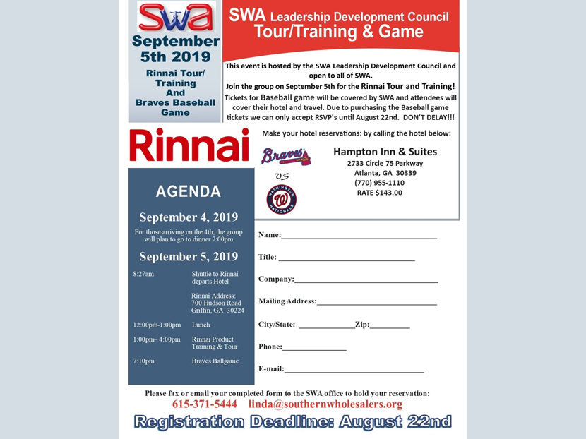 SWA Announces Tour, Training and Baseball Game Event