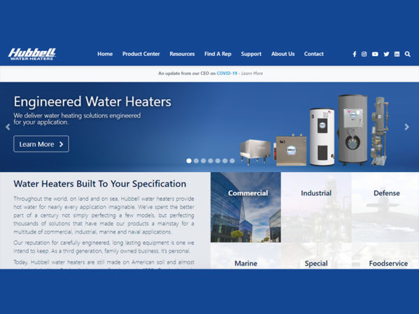 Hubbell Water Heaters Launches New Website