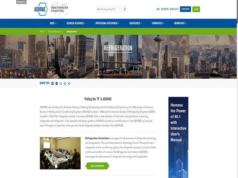 ASHRAE Launches New Refrigeration Webpage