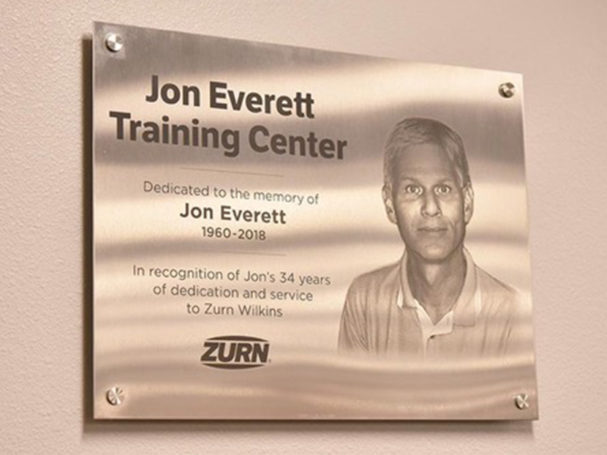 Zurn dedicates jon everett training center in memory of associate
