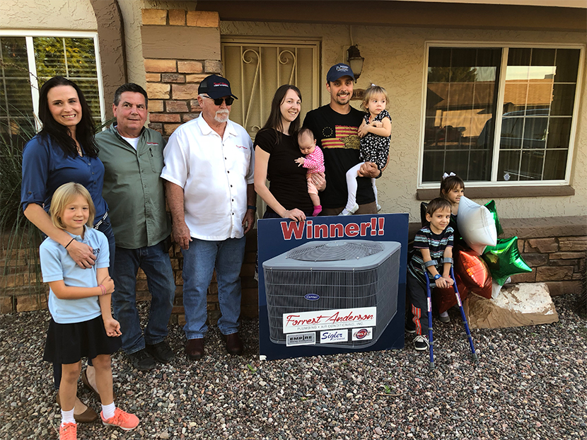 Army Vet Jeremy Koehler Wins Free A/C Unit from Forrest Anderson for Veterans Day
