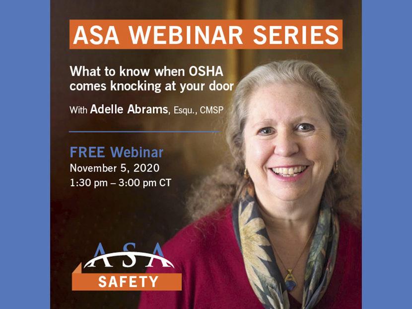 ASA Safety Committee to Host Webinar on OSHA