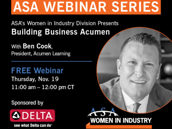 ASA Women in Industry Division Presents Building Business Acumen Webinar Nov. 19 2