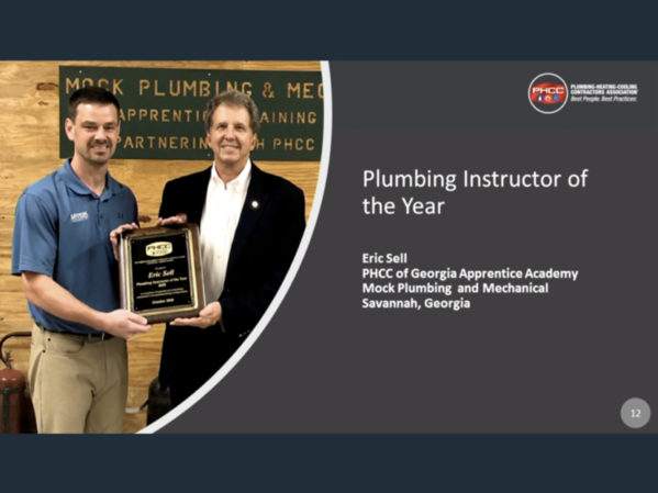 Eric Sell of Mock Plumbing and Mechanical Receives PHCC Plumbing Instructor of the Year Award