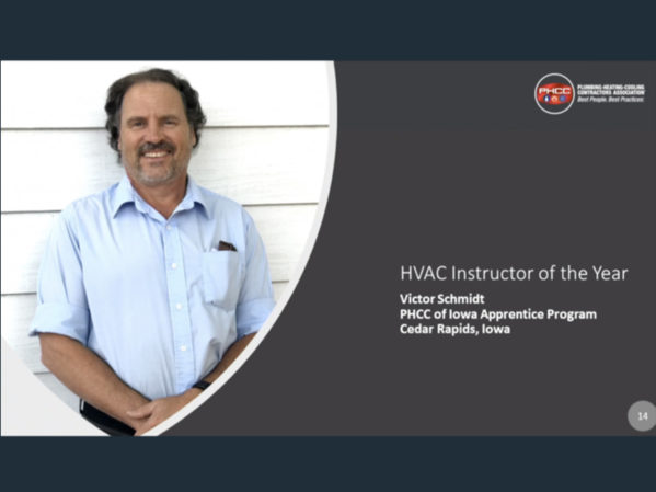 Victor Schmidt from Iowa Named PHCC HVAC Instructor of the Year
