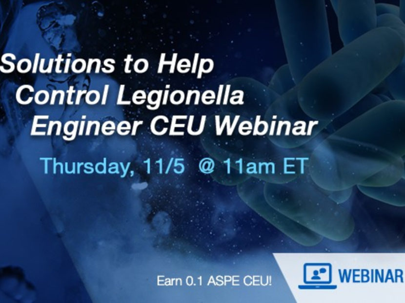 Watts to Host Customer Webinar on Solutions to Help Control Legionella Nov. 5 2