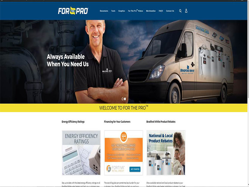 Bradford White Launches 'For The Pro' Website 2