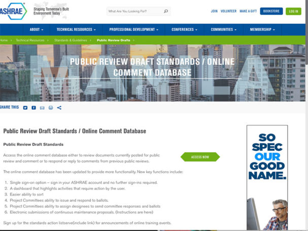 Ashrae-launches-online-standards-review-database
