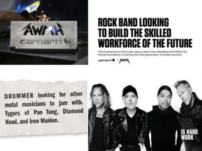 Carhartt and metallicas all within my hands foundation reimagine 1981  musicians wanted  ad to recruit skilled workers this labor day