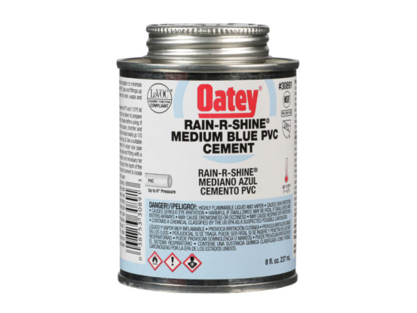 Oatey Rain-R-Shine Medium Blue PVC Cement 2