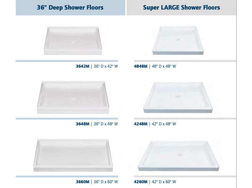 E.L. Mustee & Sons Deep and Super Large Shower Bases