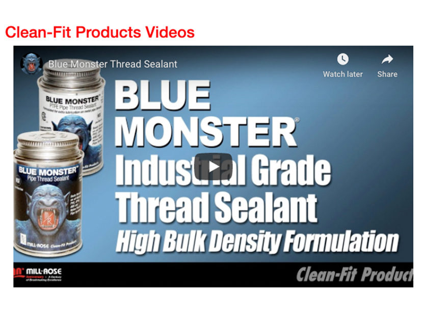 Blue Monster PHC Demonstration Videos from Clean-Fit Products, a Division of The Mill-Rose Company