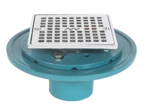 Matco-Norca No Hub Heavy Duty Shower Drain with Square Strainer